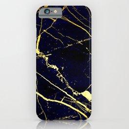 BlueBlack-Gold Marble Galaxy Impress iPhone Case