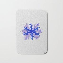 WATERCOLOR SNOWFLAKE 5 - blue and purple palette Bath Mat