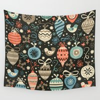 folk Wall Tapestries featuring Festive Folk Charms by Poppy & Red