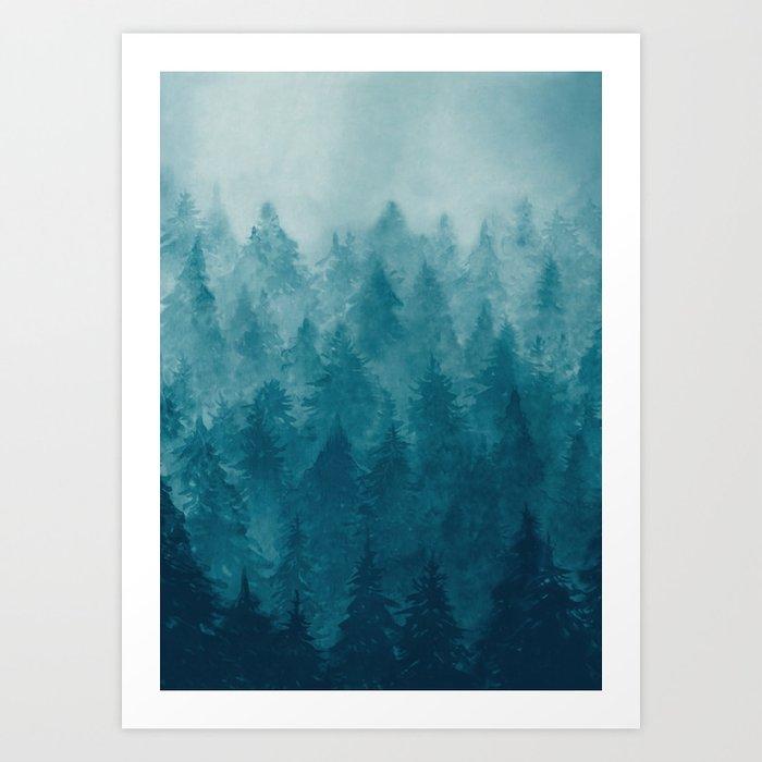 Misty Pine Forest Kunstdrucke