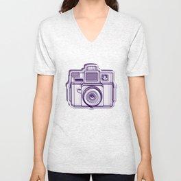 I Still Shoot Film Holga Logo - Reversed Deep Purple Unisex V-Neck