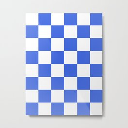 Large Checkered - White and Royal Blue Metal Print