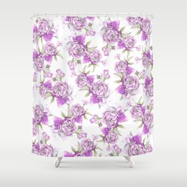 Elegant lavender lilac pink hand painted watercolor peonies Shower Curtain