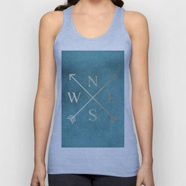 Gold on Turquoise Distressed Compass Adventure Design Unisex Tank Top