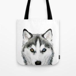 Siberian Husky dog with two eye color Dog illustration original painting print Tote Bag