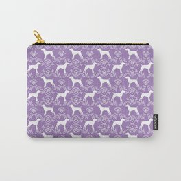 German Shorthair Pointer dog breed floral silhouette purple and white dogs pattern gifts Carry-All Pouch