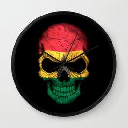 Dark Skull with Flag of Ghana Wall Clock