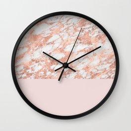 Massarosa rose gold on blush Wall Clock