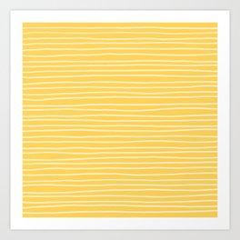 Sunshine Yellow Pinstripes Art Print