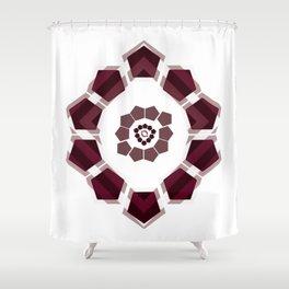 GeoFlower - Plumb on White Shower Curtain