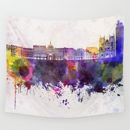 Nantes skyline in watercolor background Wall Tapestry