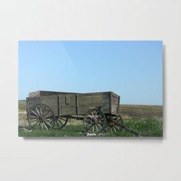 Abandoned Wooden Wagon Metal Print