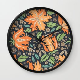 Cora Flora_ Orange and Slate Blue Wall Clock