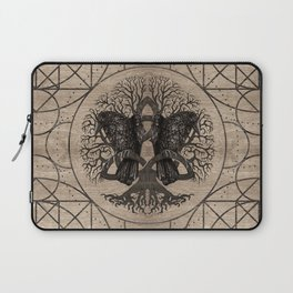 Tree of life - with ravens wooden texture Laptop Sleeve