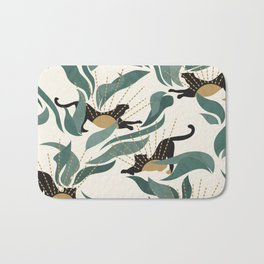 Tropical Landscape with Panthers and Sun / Green Bath Mat