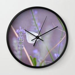 Lavender Butterfly Wall Clock