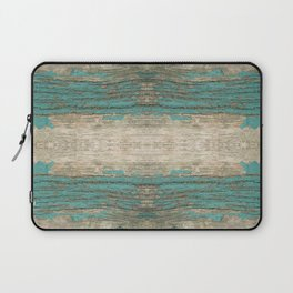 Rustic Wood - Weathered Wooden Plank - Beautiful knotty wood weathered turquoise paint Laptop Sleeve
