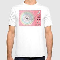 Vinyl-Turntable MEDIUM Mens Fitted Tee White