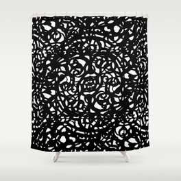 Black and White Abstract Intricate Print Shower Curtain