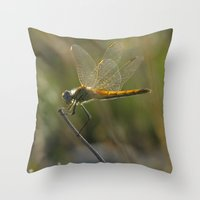 dragonfly Throw Pillows featuring dragonfly by giol's