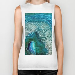 Aqua turquoise agate mineral gem stone - Beautiful Backdrop Biker Tank