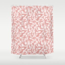 Kip and Flo in Coral on White Shower Curtain