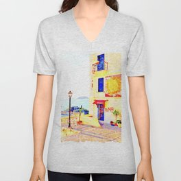 Foreshortening with sea and building with murals Unisex V-Neck