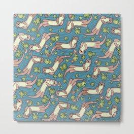 Swimming Otters Pastel Tones Metal Print