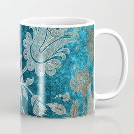 Aqua Teal Vintage Floral Damask Pattern Coffee Mug