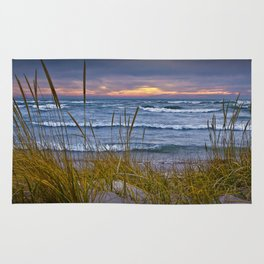 Sunset Photograph of a Dune with Beach Grass at Holland Michigan No 0199 Rug