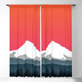 Mount Hood Winter Forest - Sunset Blackout Curtain