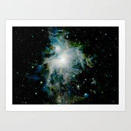 Orion Nebula Teal Deep Green Art Print