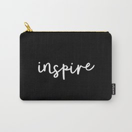 Inspire black and white monochrome typography poster design home room wall bedroom decor canvas Carry-All Pouch