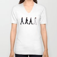 downton abbey V-neck T-shirts featuring Abbey road by eARTh