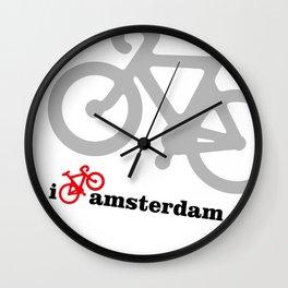 I Love Amsterdam - Red Bike Wall Clock