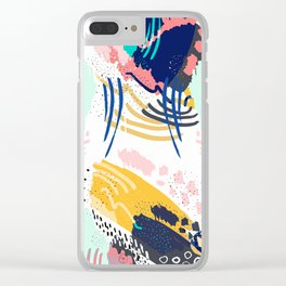 Modern abstract creative brush strokes Clear iPhone Case