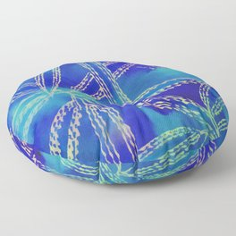Blue Green Abstract Leaf Pattern Floor Pillow