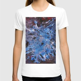 cosmic blue abstract paint T-shirt