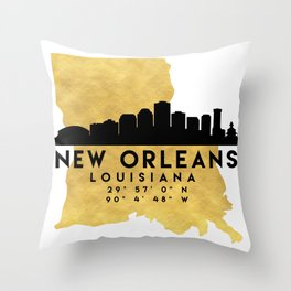 NEW ORLEANS LOUISIANA SILHOUETTE SKYLINE MAP ART Throw Pillow