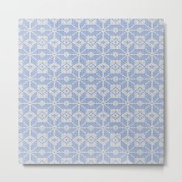 Knitted winter, blue - white pattern Metal Print