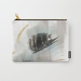 Build Me Up, Buttercup - a minimal acrylic and ink abstract piece in blue, black, and tan Carry-All Pouch