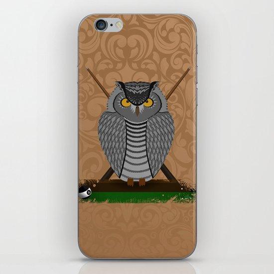 owl playing billiards iPhone Skin