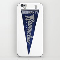 ravenclaw iPhone & iPod Skins featuring Ravenclaw 1948 Vintage Pennant by Andy Pitts