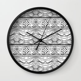 Floral pattern black and white Wall Clock