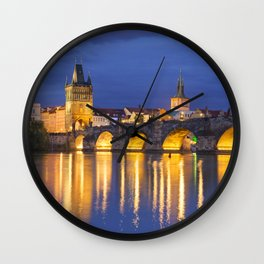 The Charles Bridge in Prague, Czech Republic at night Wall Clock