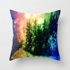 Galaxy Forest Rainbow Snow Throw Pillow