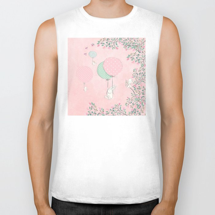 Cute flying Bunny with Balloon and Flower Rabbit Animal on pink floral background Biker Tank