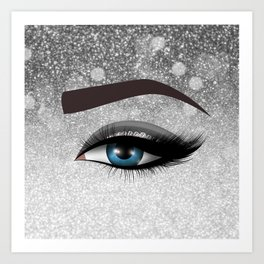 Glam diamond lashes eye #1 Art Print