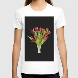 Red cut tulips bouquet in glass vase T-shirt