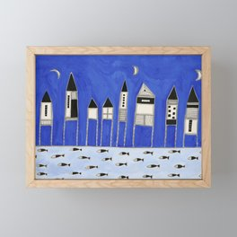 Tiny houses and fish in blue Framed Mini Art Print